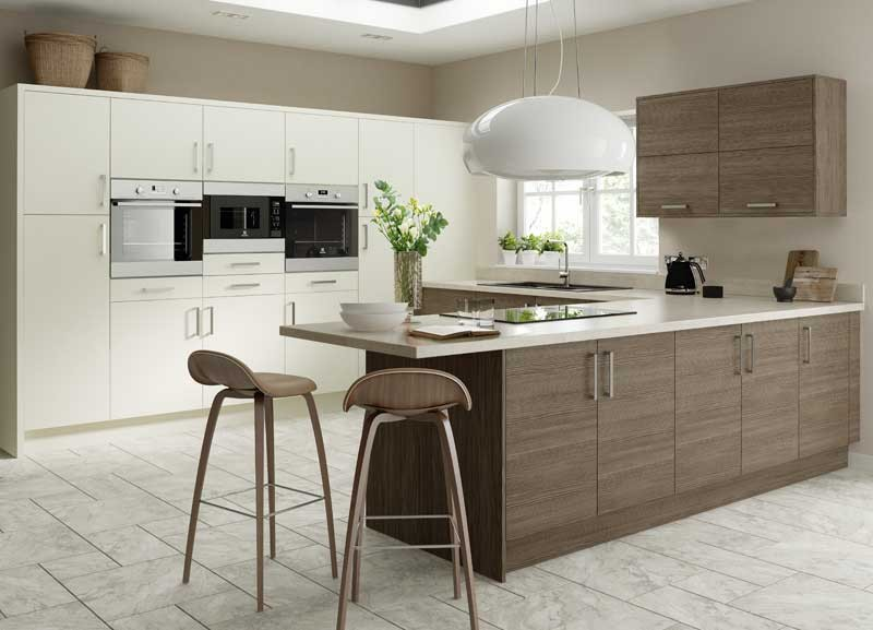 Wood kitchen brown grey for Grey and brown kitchen