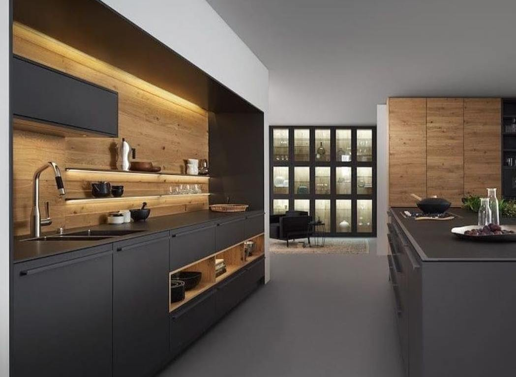 New wood kitchens gallery - Black and wood kitchen ...