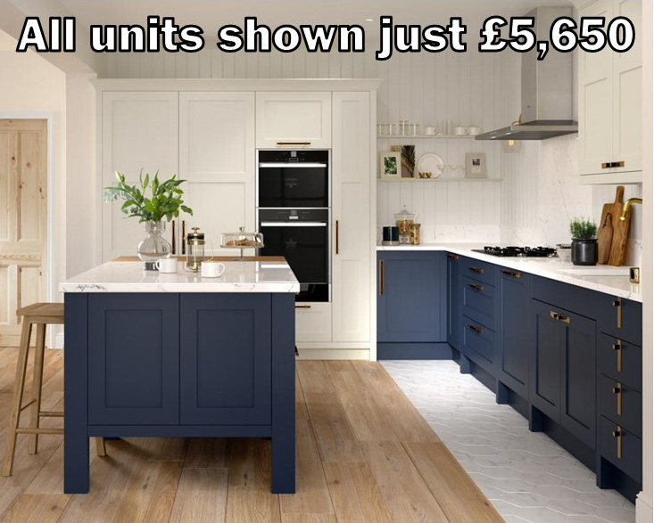 blue painted shaker kitchen 52.1