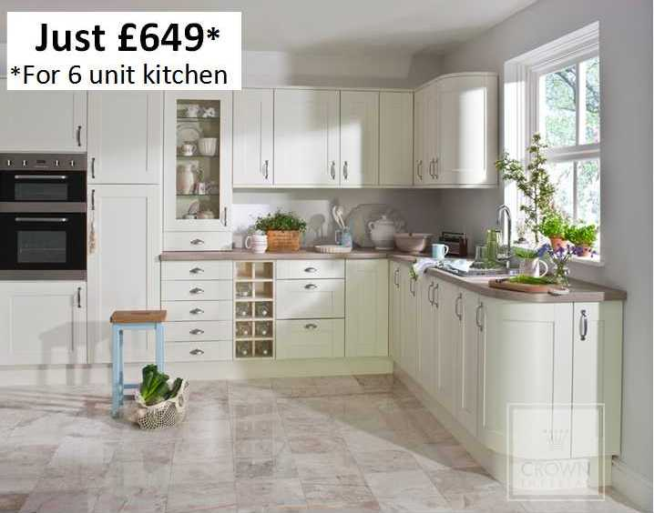 Cream shaker kitchen example kitchenfindr for Cream shaker style kitchen cabinets