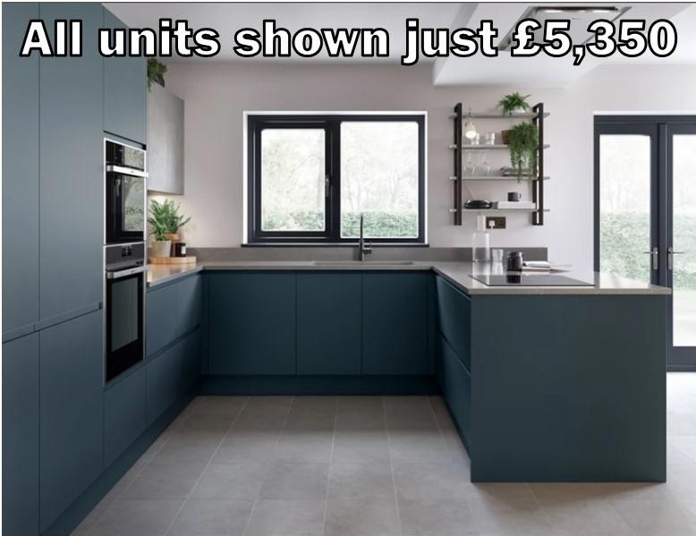 dark blue matt handleless kitchen 201
