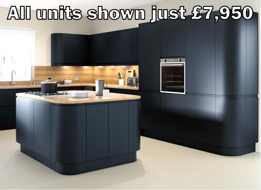 dark blue matt handleless kitchen 50.1