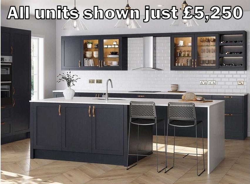 dark blue skinny shaker kitchen 8