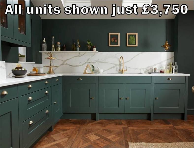 dark green shaker kitchen