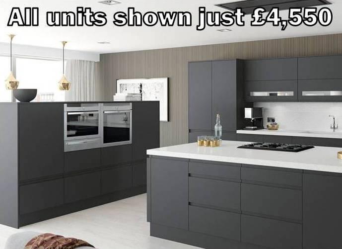 dark grey matt handleless kitchen 13