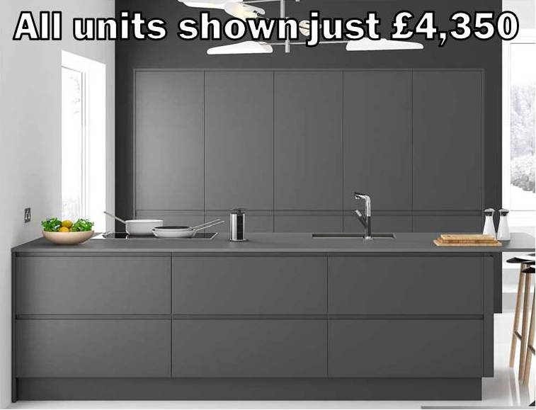 dark grey matt handleless kitchen 21