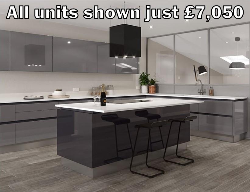 dust grey gloss handleless kitchen 20.1