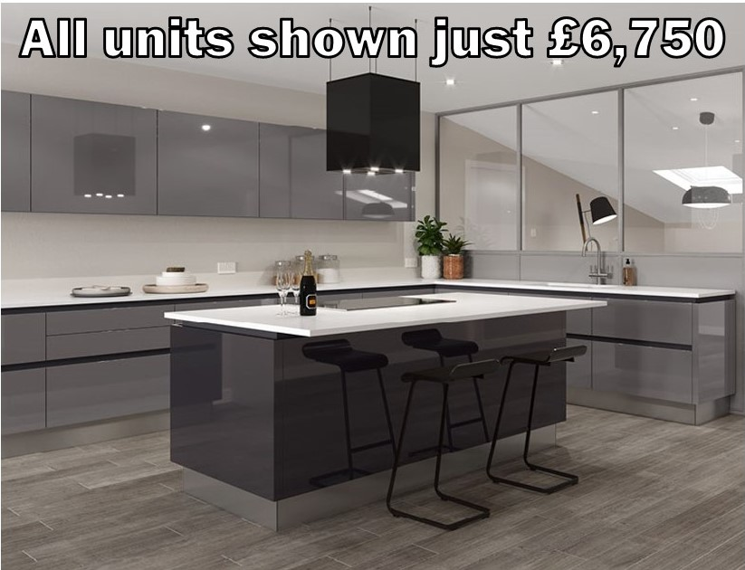 dust grey gloss handleless kitchen 21