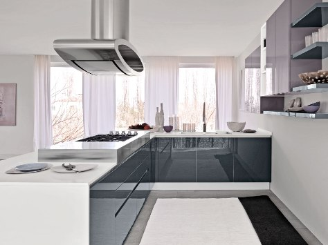 Grey gloss kitchen kitchenfindr for Kitchen ideas grey gloss