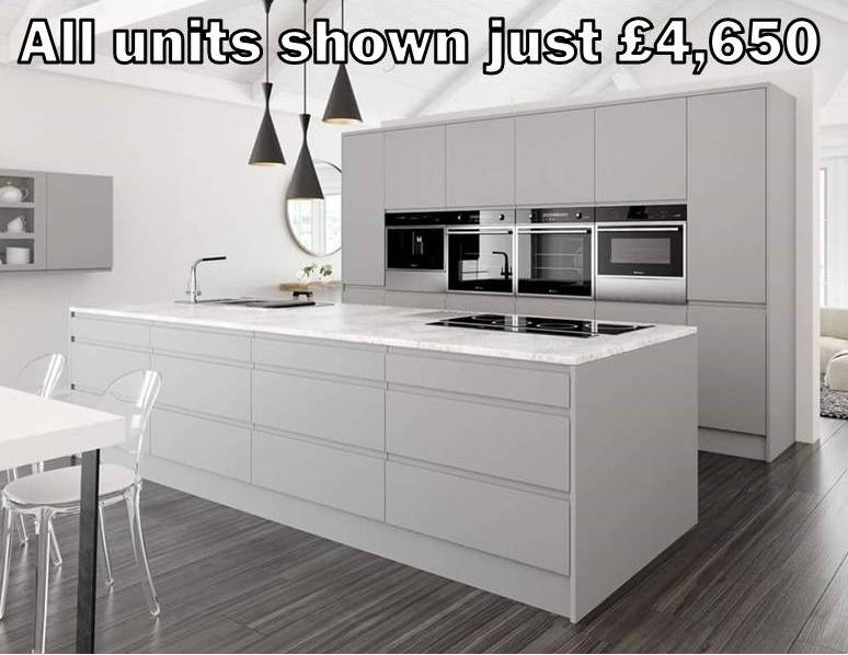 grey matt handleless kitchen 20
