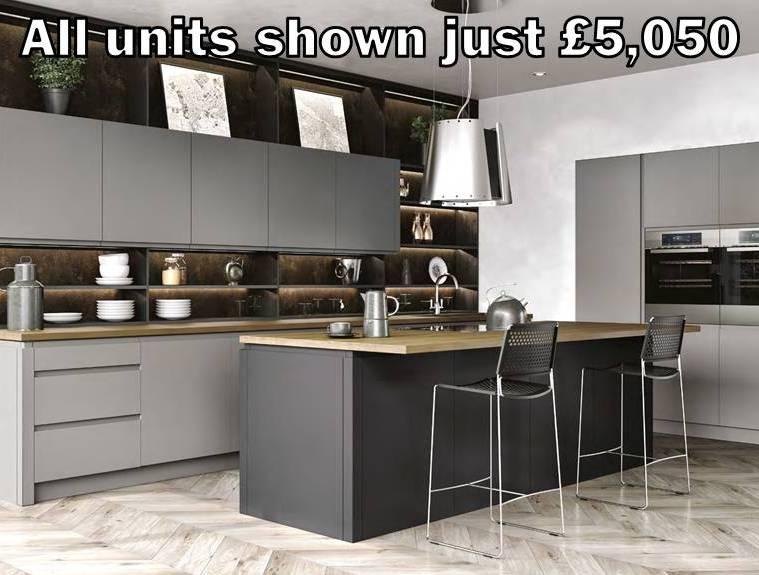 grey matt handleless kitchen 32