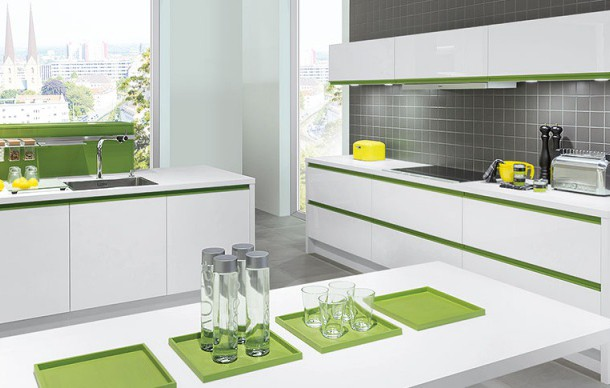 kitchen units with Kiwi green grip ledges and accessories