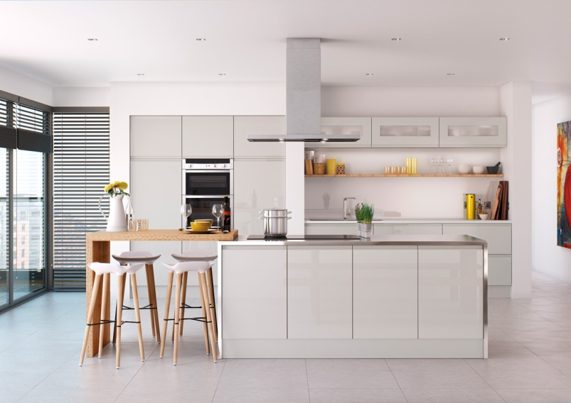 Light grey gloss kitchen launched by value range for Light grey modern kitchen