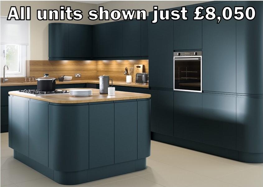 marine blue matt handleless kitchen 10.1