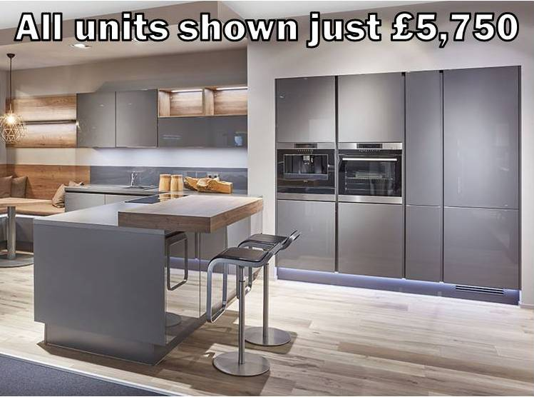 mid grey gloss handleless kitchen