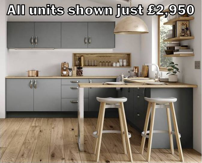 mid grey matt slab kitchen 2