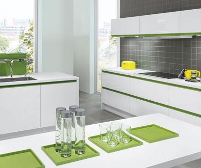 white gloss kitchen with kiwi green